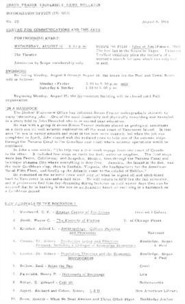 SFU News Bulletin No. 27, Aug 8, 1966