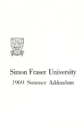Simon Fraser University 1969 Summer Addendum