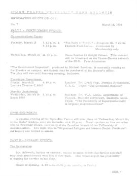 SFU News Bulletin No. 7, March 14, 1966