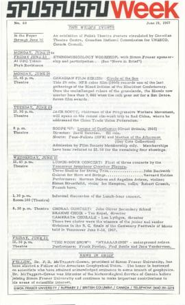 SFU Week No. 69, June 19, 1967