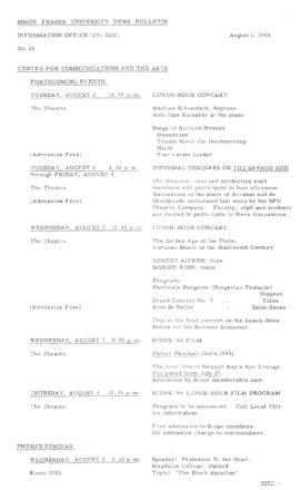 SFU News Bulletin No. 26, Aug 1, 1966