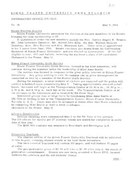 SFU News Bulletin No. 14, May 9, 1966