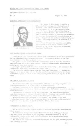 SFU News Bulletin No. 30, Aug 29, 1966